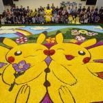 「八丈島フリージアまつり」で、巨大なピカチュウの花絵が完成!!